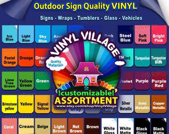 """sample master set 2""""x2"""" Adhesive Backed Vinyl YOU PICK COLORS Outdoor sign quality Craft cut cutters, tumblers, glass, vehicles vinylvillage"""