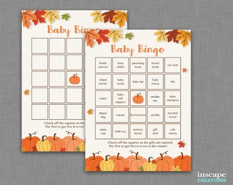 Pumpkins Baby Bingo Game, Pumpkin Baby Shower Bingo Game 1 Blank + 40 Unique / Different Cute Pre-Filled Fall Rustic, Country, Bingo Cards