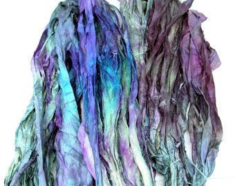 Hand Dyed Recycled Sari Silk Ribbon Yarn Embroidery Knitting Weaving 99g A