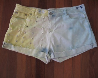 Studded Yellow and Blue shorts