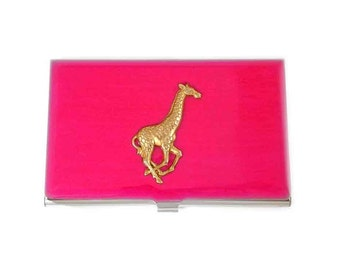 Giraffe Card Case Inlaid in Hand Painted Enamel Fuchsia Enamel Metal Wallet with Personalized and Color Options
