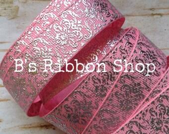 """7/8"""" Silver Foil Damask on Lt Pink USDR grosgrain ribbon"""