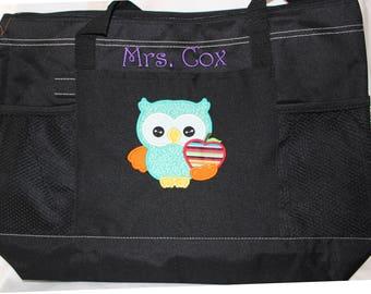 Teacher Appreciation Gift Applique SchoolTeacher Bag; Unique Teacher Tote Bag