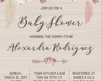 rustic vintage boho baby shower invitation (digital)