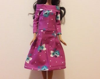 "Handmade 11.5"" Doll Clothes, Barbie Clothes- Dress fits Barbie Dolls"