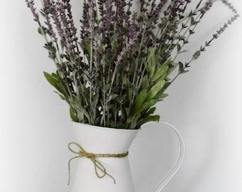 Farmhouse Lavender Arrangement in White Metal Pitcher