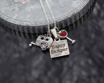 Happy Camper Necklace, camping gift, glamping jewelry, rv travel trailer charm necklace, wine glass charm