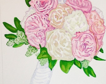 Watercolor wedding bouquet painting, custom 8x10, Wedding, anniversary gift, flower painting from photo, Christmas, romantic gift, for her
