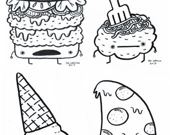 Food Doodles (originals) 5x7 Pen & Ink on Strathmore paper