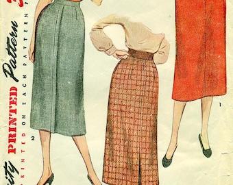 Simplicity 4491 Pencil Slim Straight Skirt VINTAGE 1950s circa 1953