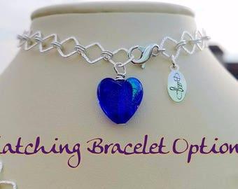 Matching BRACELET Sterling Silver Heavy Infinity (Figure Eight) Chain Necklace w Venetian Glass Heart Pendant & Sterling Heart Toggle Close