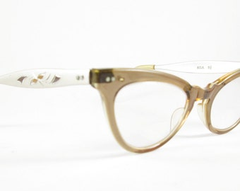 Cat Eye Glasses Vintage Brown Frames with Aluminum Arms Eyewear Mid Century