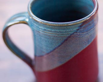 Twilight Raspberry Handmade Ceramic Coffee Mug -- hand thrown clay pottery mug -- Ceramic mug pottery coffee mug