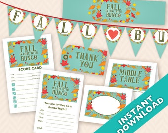 Instant Download Printable Bunco Party Decoration Set - Fall in Love with Bunco (a.k.a. Bunko, score card, score sheet)