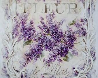 Vintage Lavender Purple Lilacs Graphic Image Art Fabric Block Doodaba
