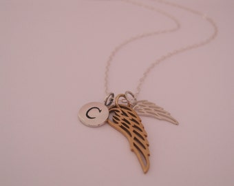 Silver and gold angel wing with initial, Personalized Double Wing Necklace, Remembrance jewelry, Dainty angel wing necklace, Initialed