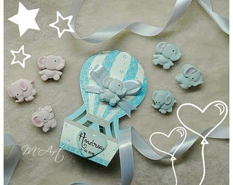 Birth favors, hot-air ballooning with elephant, baptism, baby, baby