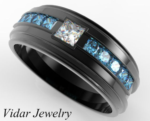 Mens Blue Diamond Ring Black Gold Mens Wedding Band Blue