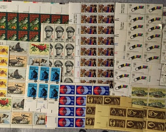 SALE USA 1970s Stamp Collection Assortment of Mint Uncirculated Blocks of 4 and Larger Sheets Christmas Military Americana