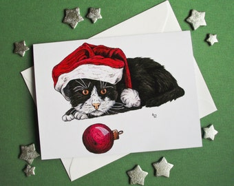 Kitty Cat with a bauble Christmas card with glitter