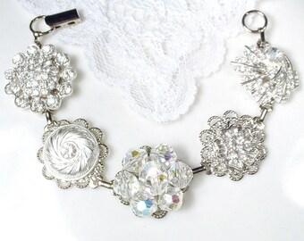 OOAK Old Hollywood Glam Crystal & Rhinestone Silver Bridal Bracelet,  Vintage Wedding Deco, Vintage Earring Bracelet Mother of Bride Gift