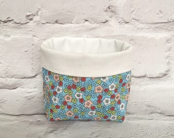 Mini fabric storage basket, small storage bin, fabric basket, fabric storage bin, home storage, nursery storage, floral storage basket