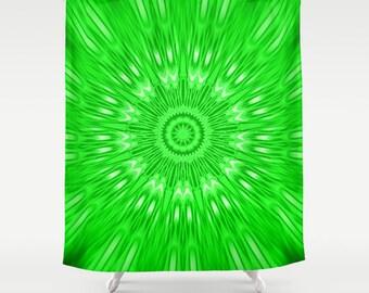 Shower Curtain, Green Shower Curtain, Green Kaleidoscope Shower Curtain, Bathroom Decor, Green Home Decor, Green Bathroom, Green