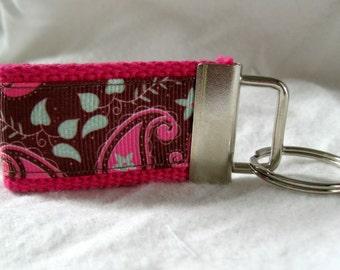 Paisley Mini Key Fob - Ready to Ship - Small Floral Key Chain - PINK - Paisley Zipper Pull - Paisley Key Ring