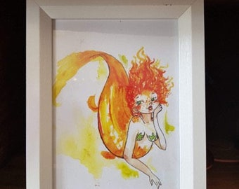 Cute Sweet Orange Goldfish Mermaid Girl A5 Card Print