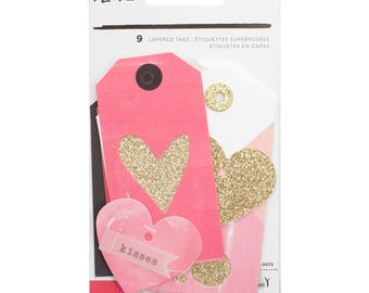 Crate Paper Hello Love Layered Tags -- MSRP 5.00