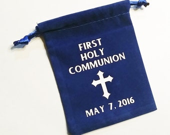 Personalized First Holy Communion Rosary Pouch, Jewelry Holder, Velveteen Rosary Holder, Communion Gift