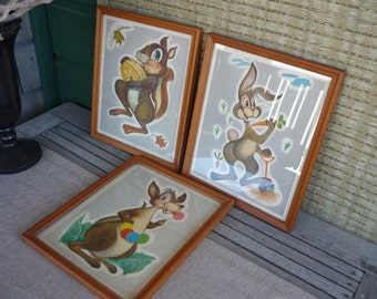 Vintage Nursery Decor, Framed Wall Art, Animal Character Prints, Childrens Room Decor