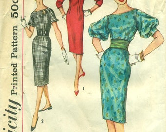 Simplicity 3200 Sheath Dress Sleeve Variations 1950s Size 16 Bust 36