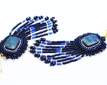 Beaded fringe earrings Lapis lazuli  Dark blue gold bead earrings Bohemian earrings Long beaded earrings Beaded tassel earrings