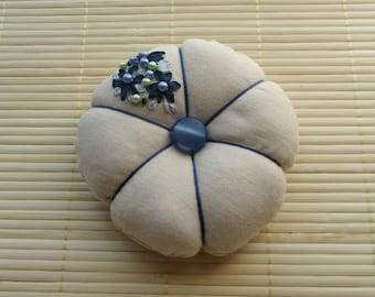 Pincushion, embroidered linen and coton pincushion, embroidered blue ribbons and bead cushion, floral pincushion