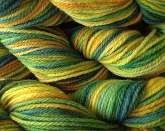 Handpainted Merino Wool Worsted Weight Yarn in Dandelion Daddy Yellow Green