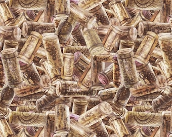 "Wine Country ""Corks Stacked""-SPX Fabrics-BTY"
