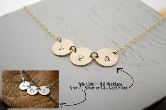 3 Best Friend Necklace | Three Initials Necklace | Personalized Monogram BFF Sisters Necklace