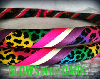 Rainbow Leopard GLOW in the Dark Dance & Exercise Hula Hoop COLLAPSIBLE Push Button -urple pink colorful