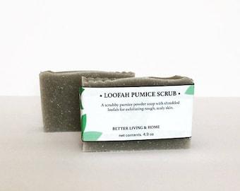 Pumice Soap, Loofah Soap, Pumice Loofah soap, Exfoliating Soap, Gardener Soap,Foot Soap, Hand Soap, Mechanics Soap, Loofah Soap bar