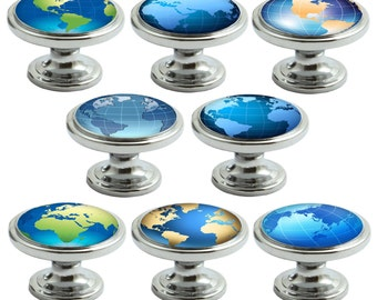 Globes Decorated Polished Chrome 38mm Drawer Cupboard Cabinet Knobs