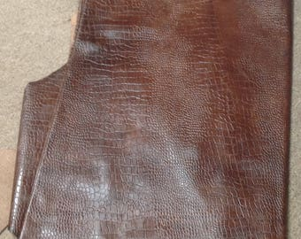 Stagecoach Distressed Brown Embossed Croc Leather Cowhide #M308