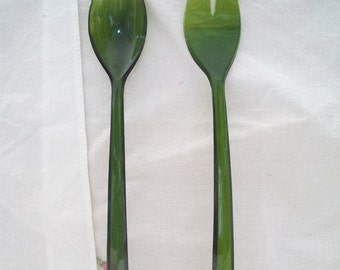 Vintage Green Salad Serving Set Retro Kitchen Dining Entertaining