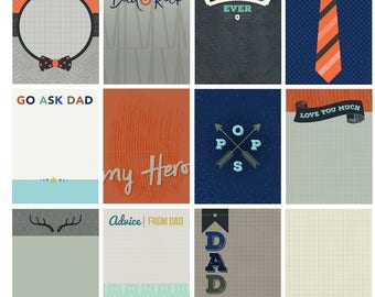 Father's Day Digital Scrapbook Cards / Dad Theme Scrapbooking / Dad Project Life Cards / Scrapbook Digital