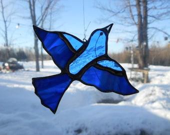 indgo bunting, stained glass suncatcher