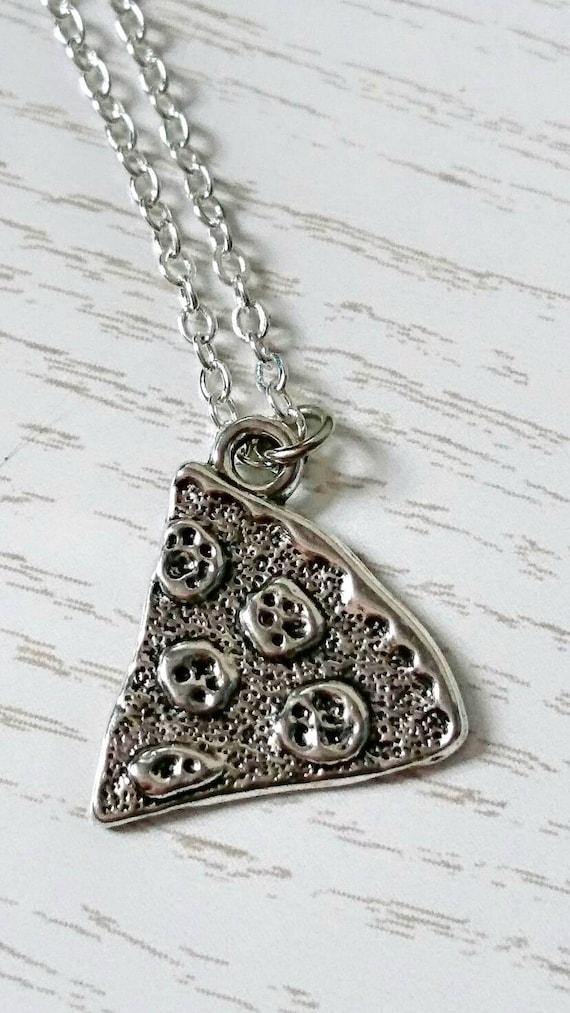 Pizza slice necklace, Best Friend Necklace, Secret Santa Gift, Pizza Charm Necklace, BFF Gift, Home Slice Necklace, Friendship Goals