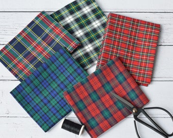Tartan, Fat Quarters, Fabric Bundle, Cotton, Home decor, Wall decor, Plaid, Gift for Mom, Xmas Gift, Red, Blue, Green, Tartan Fabric
