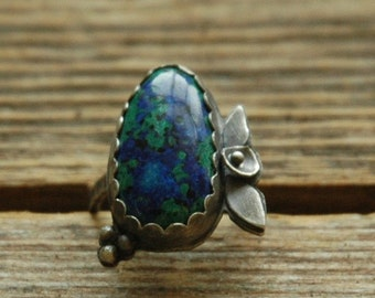 Sterling Silver Ring with an Azurite and Malachite Cabochon