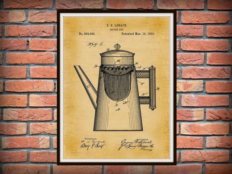 Patent 1889 Coffee Pot Art Print - Kitchen Wall Art- Cooking ...