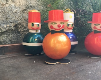 Soldier Clown Christmas Ornaments Set of 4 Christmas Tree Holiday Decor Vintage Kitsch Retro Mid Century